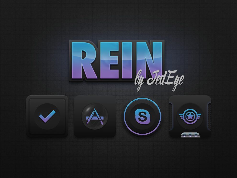"Rein is a dark, simplistic theme built to have many options. A little different from my usual style, but I wanted to make this theme multiple dimensional and fun. With dark based icons the gradient color really pops. Now Live in Cydia. <a href=""http://bareknuckledesignz.com/"">Rein theme here</a>"